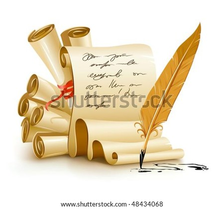 paper scripts with handwriting text and old ink feather vector illustration, isolated on white background. Gradient mesh used for shadow drawing. - stock vector