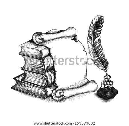 Paper scroll, feather and books in a sketch style. Hand-drawn vector illustration.