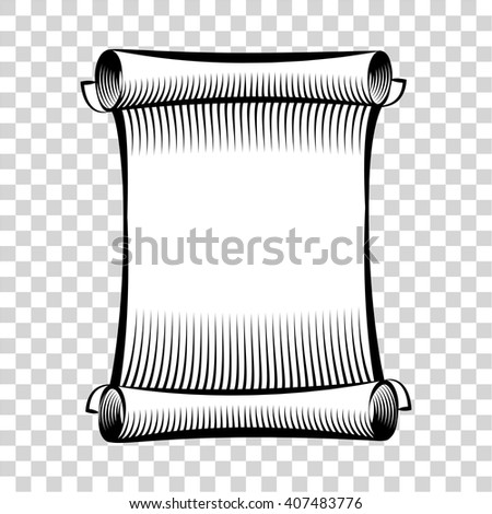 Paper scroll icon. Illustration of rolled paper scroll. Scroll of hand drawn sketch style. Paper scroll vector. Icon isolated on background. Vector illustration - stock vector