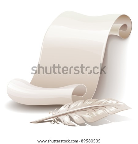Paper scroll with feather - stock vector