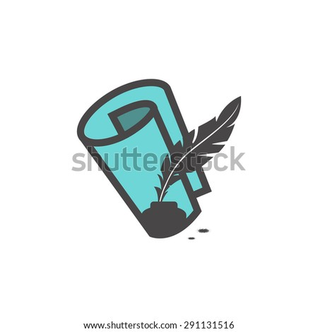 Paper scroll with feather pen icon - stock vector