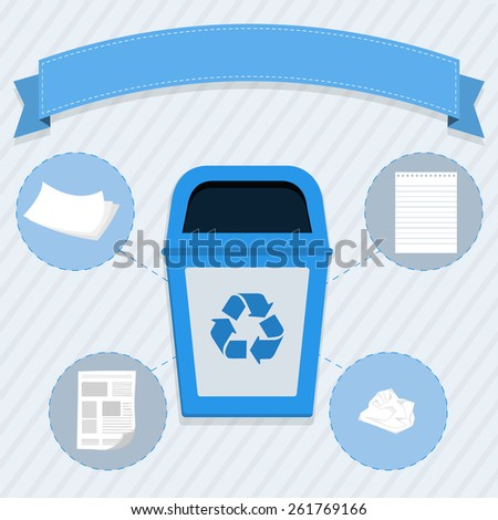 Paper selective collection. Blue trash for the selective collection of paper - stock vector