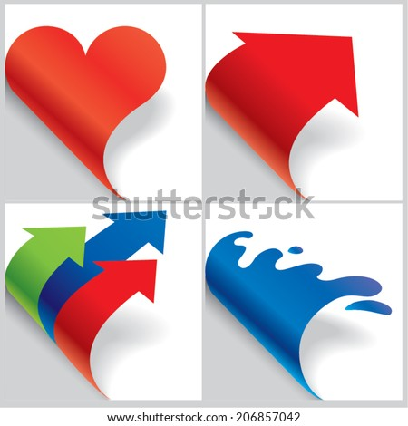 Paper shaped curled corners set - stock vector