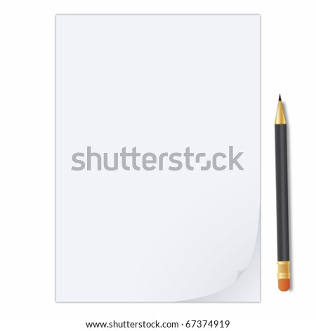 Paper sheet and pencil - stock vector