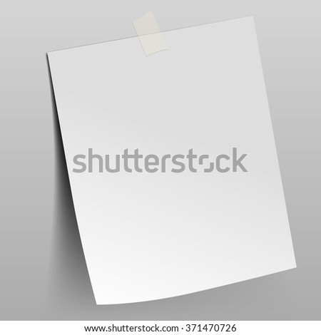 Paper sheet attached by scotch tape to the wall. Vector illustration