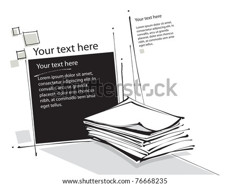 Paper sheet symbol (pre-made page layout, background, vector) - stock vector