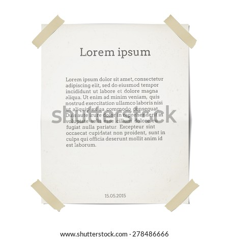Paper sheet template. Isolated on white. A sheet of paper and adhesive tape in separate layers - stock vector