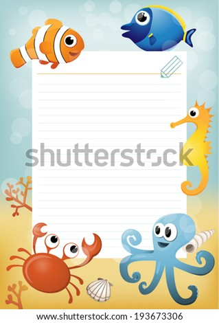 Paper sheet template with cartoon sea animals in background. - stock vector