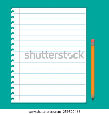 Paper sheet with a pencil - stock vector