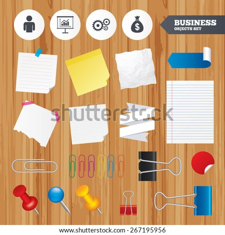 Paper sheets. Office business stickers, pin, clip. Business icons. Human silhouette and presentation board with charts signs. Dollar money bag and gear symbols. Squared, lined pages. Vector - stock vector