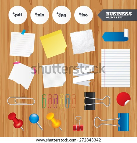 Paper sheets. Office business stickers, pin, clip. Document icons. File extensions symbols. PDF, XLS, JPG and ISO virtual drive signs. Squared, lined pages. Vector - stock vector