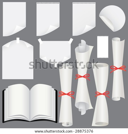 Paper sheets, scrolls  and book set (vector, CMYK) - stock vector