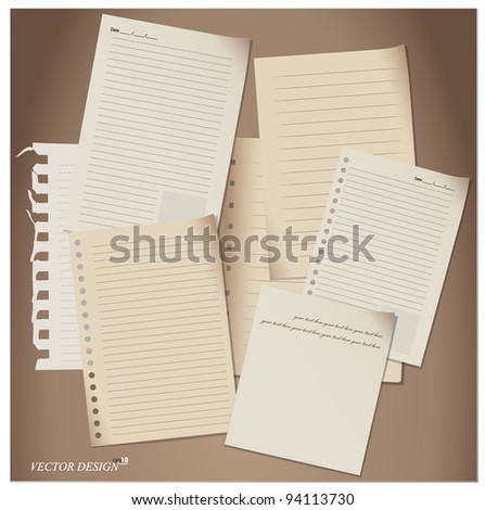 Paper Sheets set. Vector Illustration. - stock vector