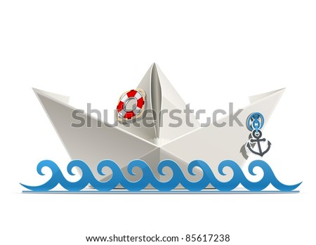 paper ship origami vector illustration isolated on white background - stock vector