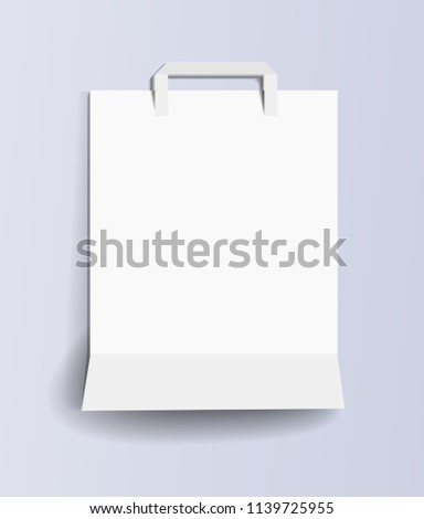 paper shopping bag template white empty stock vector 1139725955