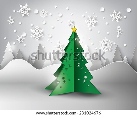 Paper snowflakes christmas tree .vector illustration - stock vector