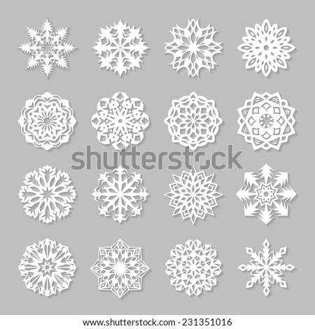 Paper snowflakes set. Vector illustration EPS10. - stock vector