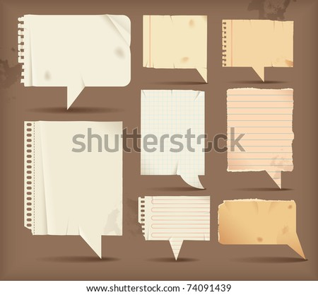 Paper speech bubbles - rectangular - stock vector