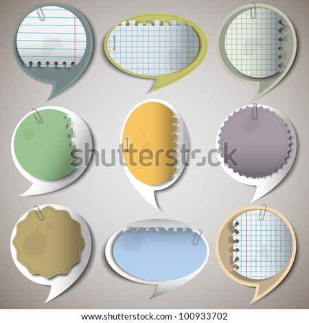 Paper speech bubbles.Vector set - stock vector