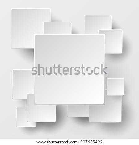 Paper square white banners with smooth corners and drop shadow - stock vector