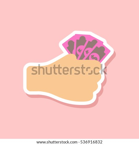 paper sticker of money in hand
