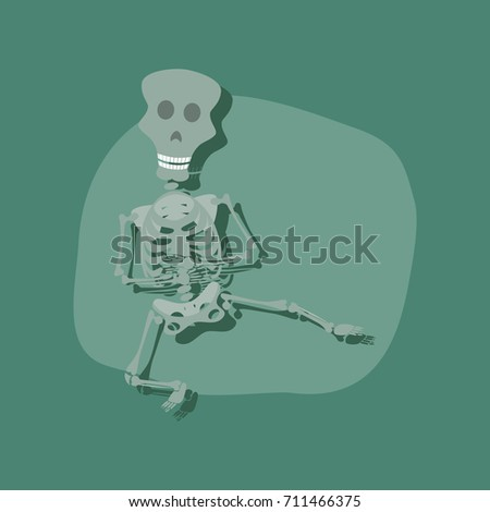 Paper sticker on stylish background skeleton halloween monster