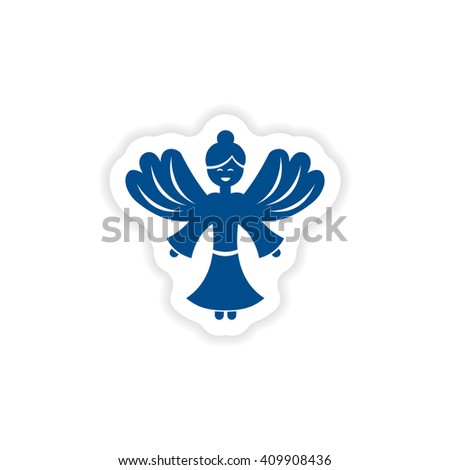 paper sticker on white background Christmas Angels - stock vector