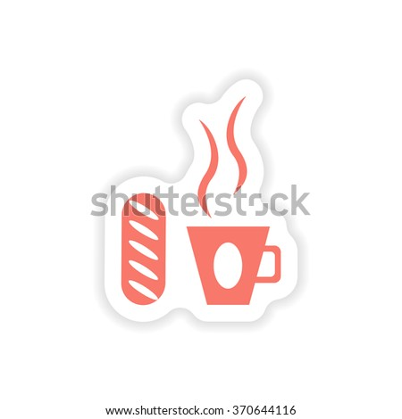 paper sticker on white background cup of coffee  - stock vector