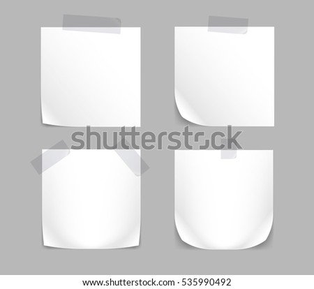 Paper Sticker set. Memo Label isolated on White Background.