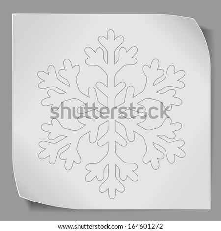 Paper sticker with snowflake over gray background. Vector EPS10.