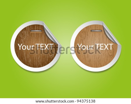 Paper stickers with wooden - stock vector