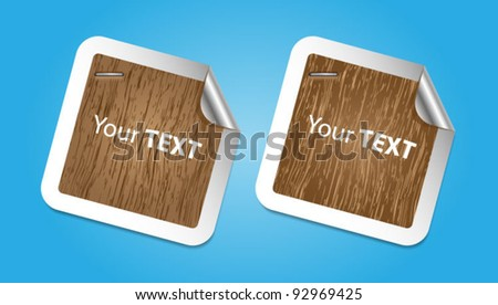 Paper stickers with wooden design and curled corners-vector - stock vector