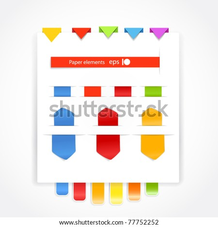 Paper stuff collection - stock vector