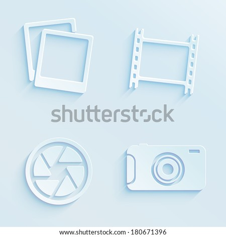 Paper style photography vector icons - stock vector