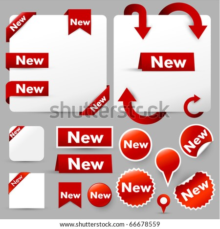 paper tags, labels & web design elements - stock vector