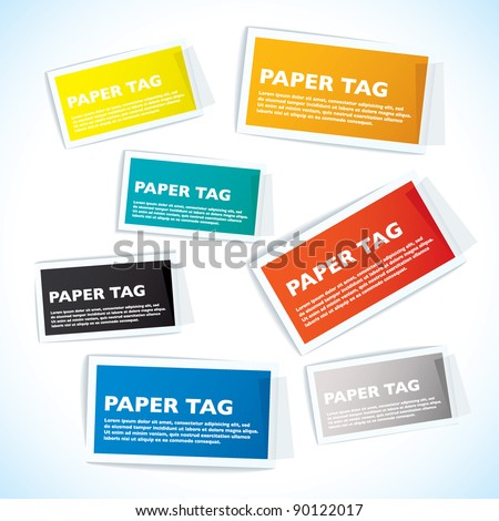 Paper tags with white borders and sticky tape - stock vector