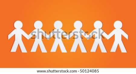 Paper team - stock vector