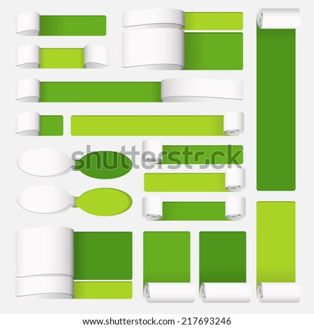 Paper text box on green background - stock vector