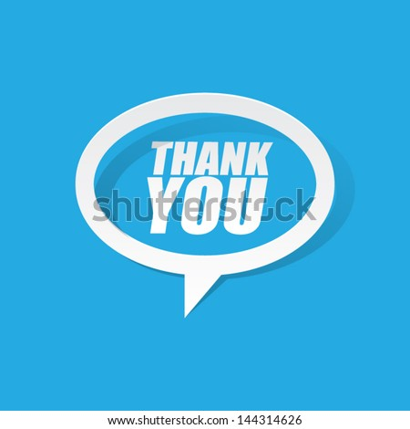 Paper Thank You Speech Bubble - stock vector
