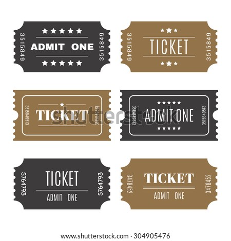 Paper tickets with numbers. Set of vector templates entry tickets. Vector illustration - stock vector