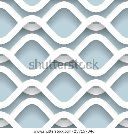 Paper waves, abstract white vector background, wavy seamless pattern, eps10 - stock vector