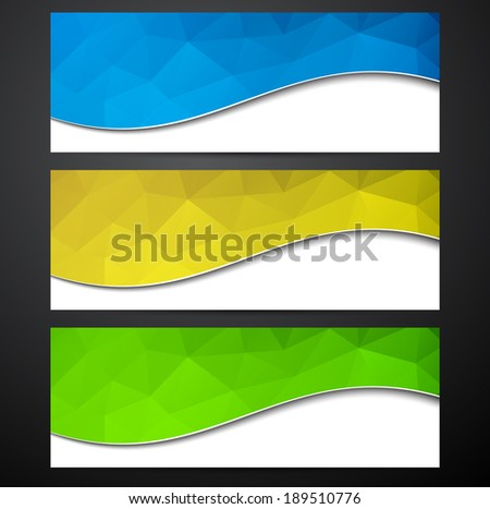 Paper wavy blank polygonal colorful banners. Vector illustration.  - stock vector
