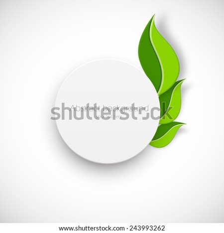 Paper white circle with leaves on white background - stock vector