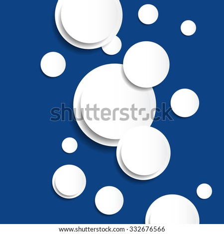 Paper white circles with drop shadow on deep blue background. Vector illustration. - stock vector