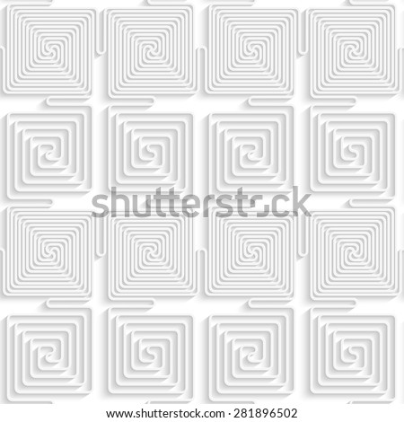 Paper white 3D geometric background. Seamless pattern with realistic shadow and cut out of paper effect.White paper 3D alternating spiral connecting squares.