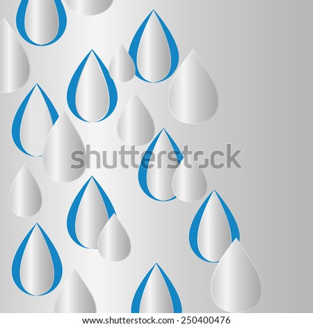 Paper white drops on a blue background. Design elements. Vector illustration. - stock vector