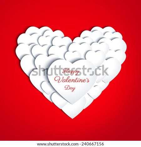 Paper white hearts with drop shadows on red background. Valentines day card in minimalistic style. Banner. Invitation design. Vector eps10 illustration - stock vector
