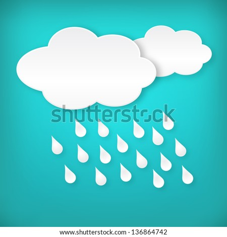 Paper white raining clouds on blue background. Isolated from background. Layered. - stock vector