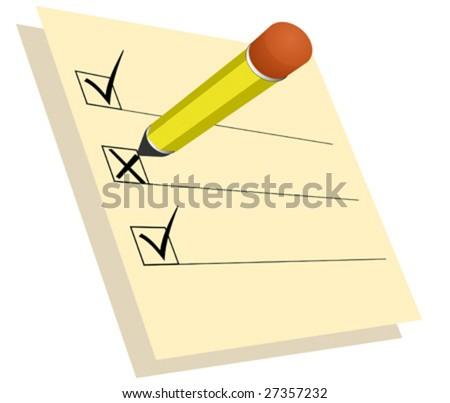 Paper with check marks and pencil - stock vector