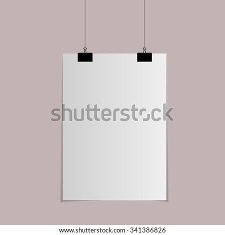 Paper with clips and shadow, vector